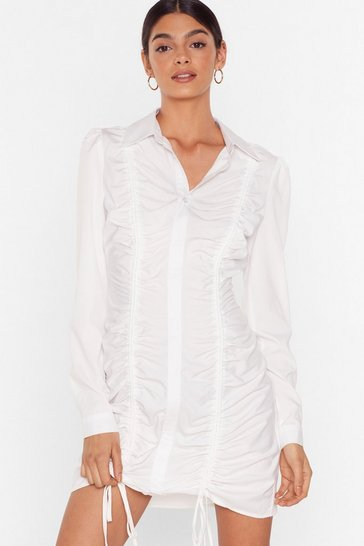 White Don't Shirt With Me Ruched Mini Dress