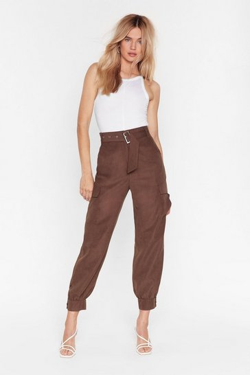 Chocolate Never Belt This Way High-Waisted Cargo Pants
