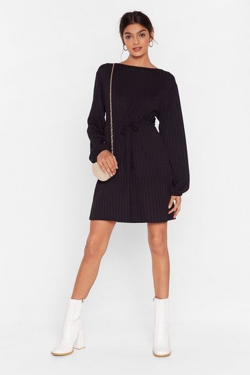 Black Rib Roaring Fun Mini Dress