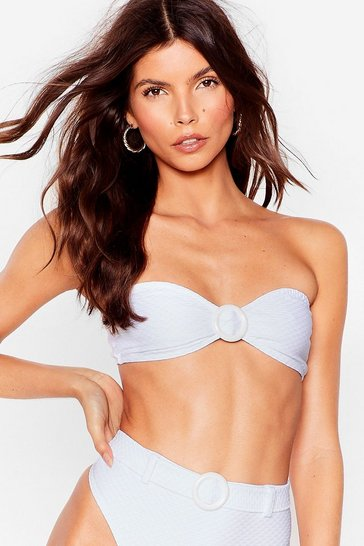 White We Got Your Text-ured Bandeau Bikini Top