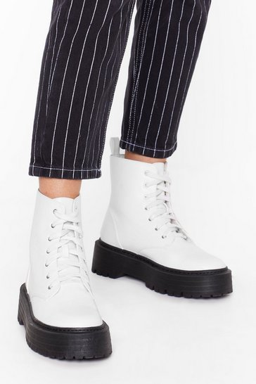 White Up and At 'Em Faux Leather Platform Boots