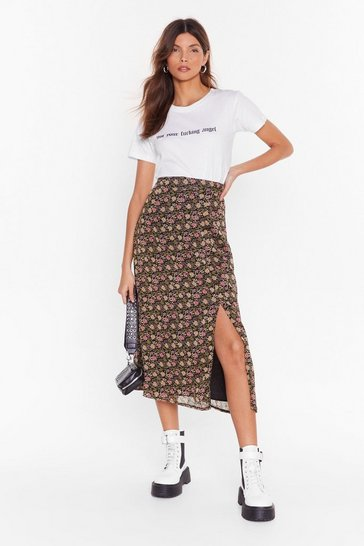 Black Seed It and Weep Floral Midi Skirt
