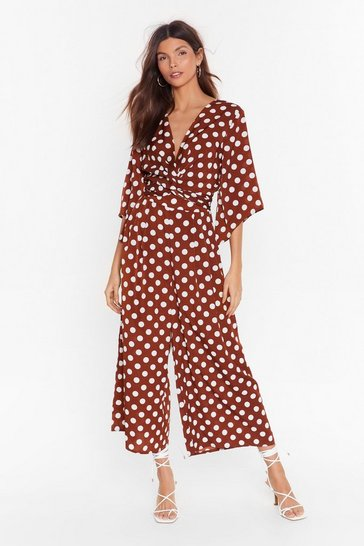 Womens Chocolate Polka Culotte Jumpsuit