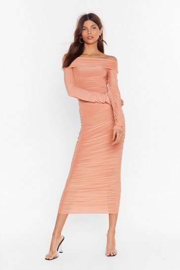 Apricot Bare in Mind Ruched Off-the-Shoulder Dress