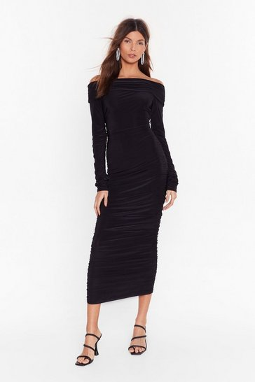 Black Bare in Mind Ruched Off-the-Shoulder Dress