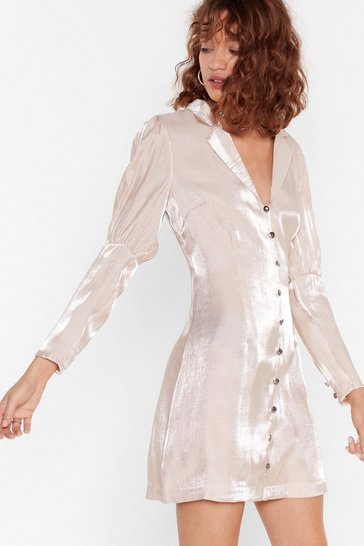 Champagne Glass of Shine Button-Down Mini Dress