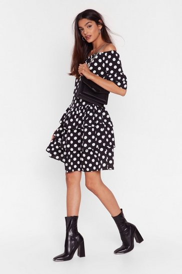 Black Spot That Off-the-Shoulder Mini Dress