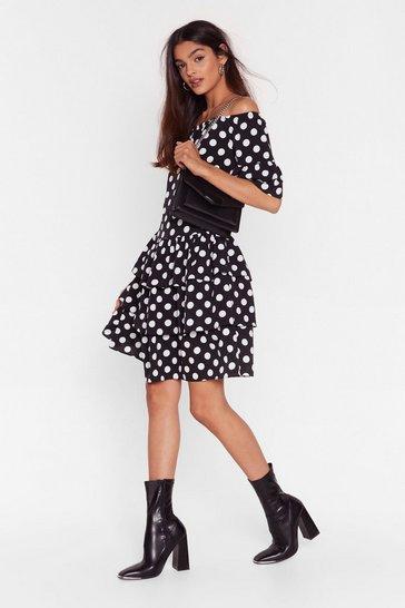 Black Spot That Off-the-Shoulder Mini Dress