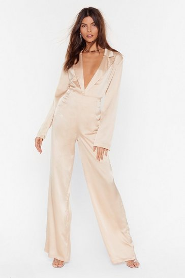Champagne Sleek to Our Heart Satin Wide-Leg Pants
