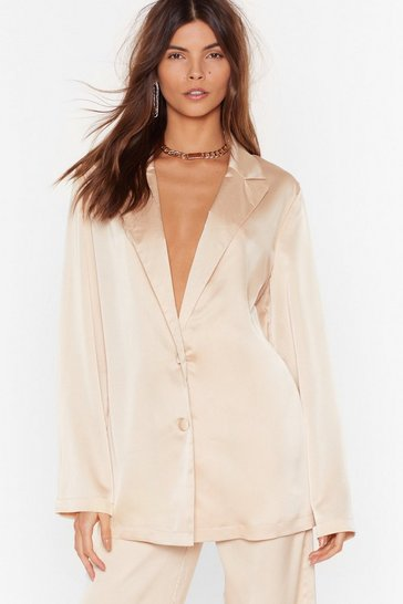Champagne Sleek to Our Heart Satin Longline Shirt