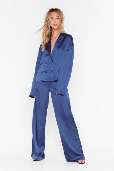 Blue Sleeks for Itself Satin Wide-Leg Pants