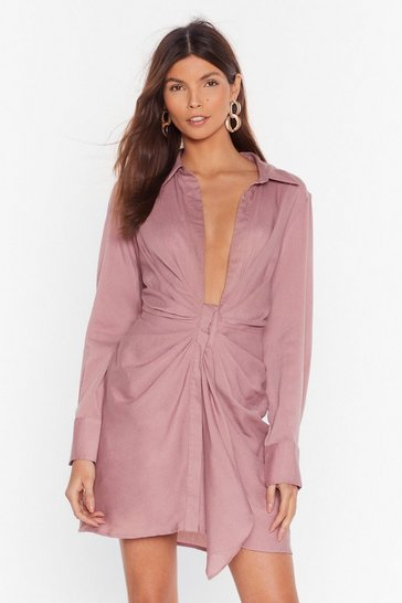 Rose Never Tied Down Plunging Shirt Dress