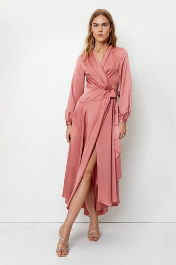 Rose Satin Long Sleeve Wrap Maxi Dress