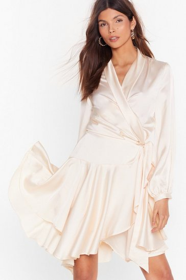 Cream Hey Girl What's Satin-ing Wrap Dress