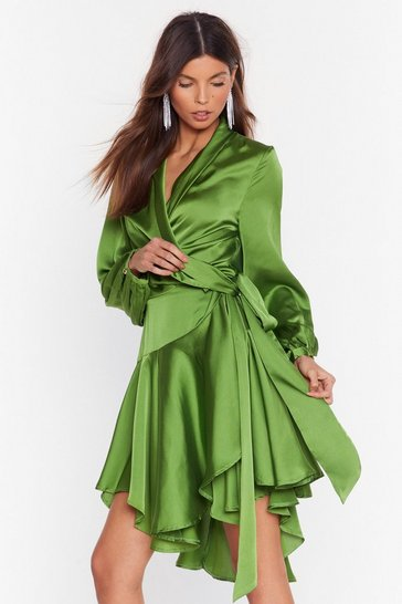Olive Hey Girl What's Satin-ing Wrap Dress