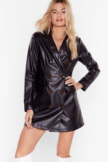 Black Ain't Faux Leather Going Back Blazer Dress