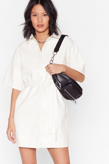 belted mini shirt dress in white faux croc