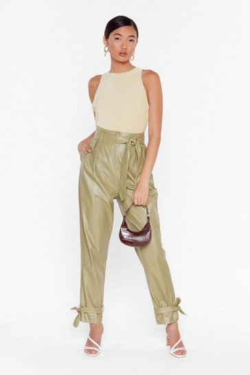 Sage Tie 'Em Down Faux Leather High-Waisted Trousers