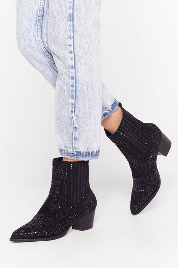 Black Embellish the Moment Faux Suede Western Boots