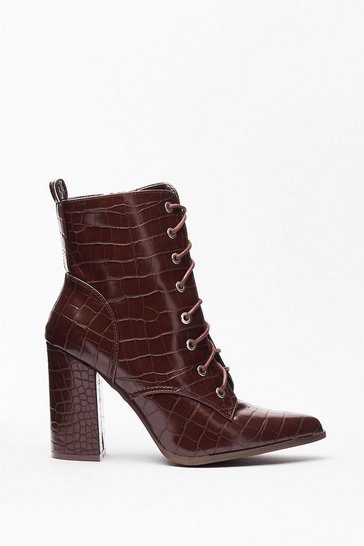 Chocolate Now's Croc the Time Faux Leather Heeled Boots