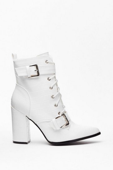 White Faux Croc Lace Up Heeled Boots