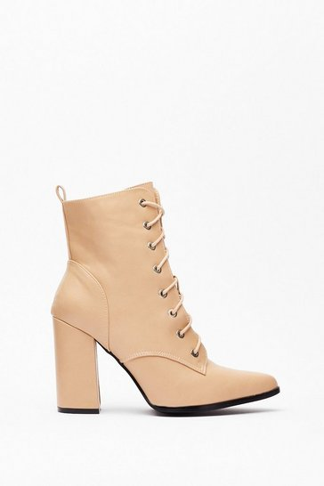 Beige Pointed Lace Up Heeled Boots