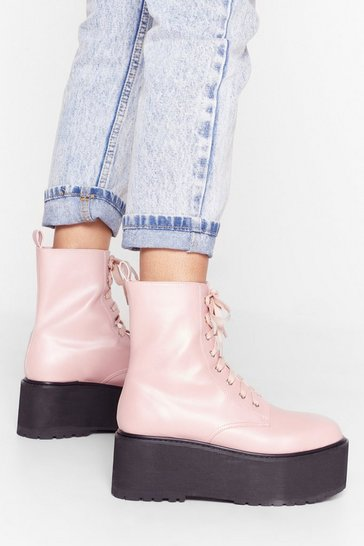 Pink Welcome Toe the Club Faux Leather Lace-Up Boots