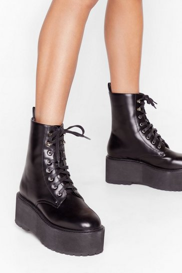 Black Welcome Toe the Club Faux Leather Lace-Up Boots