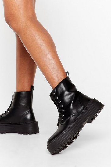 Black Lace Up Faux Leather Ankle Boots