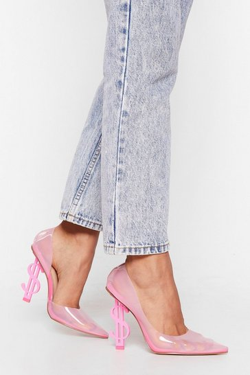 Pink Money Money Money Transparent Stiletto Heels