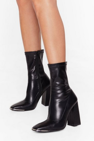 Black Hard Toe Forget Faux Leather Sock Boots