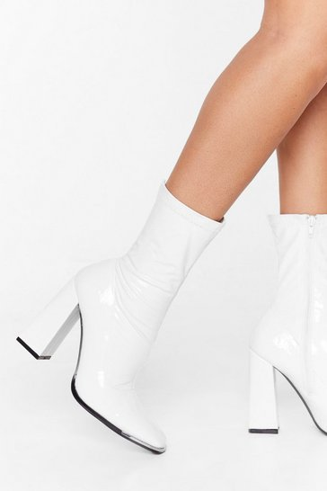White Faux Leather Block Heel Sock Boots