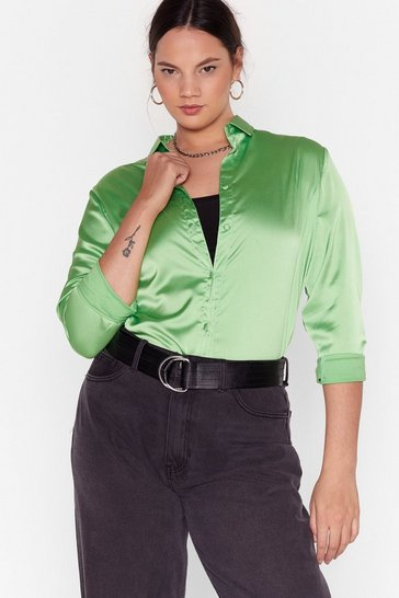Apple green Don't Satin Waitin' Plus Shirt