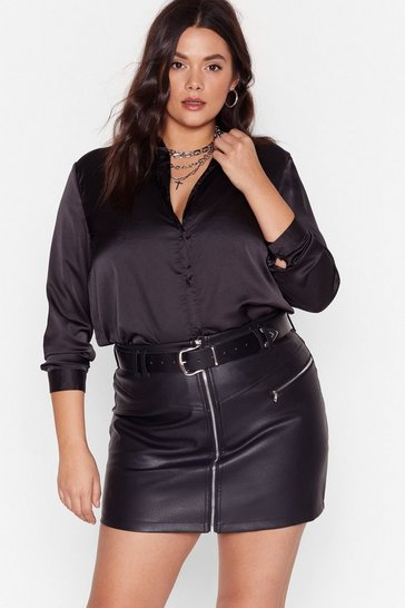 Black Plus Size Satin Shirt with Button-Down Closure