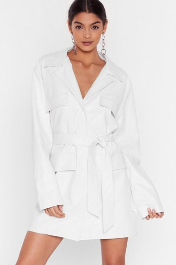 White Get It Together Faux Leather Blazer Dress