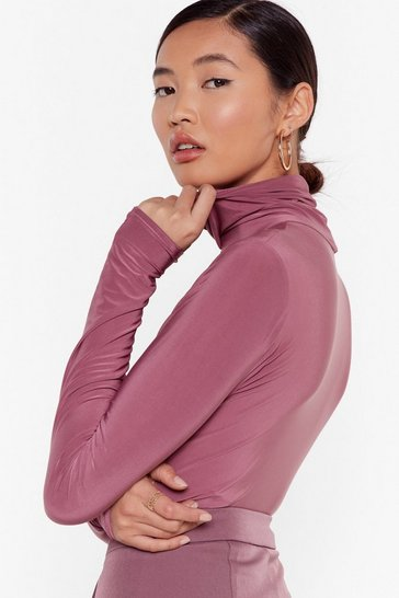 Mauve high neck bodysuit