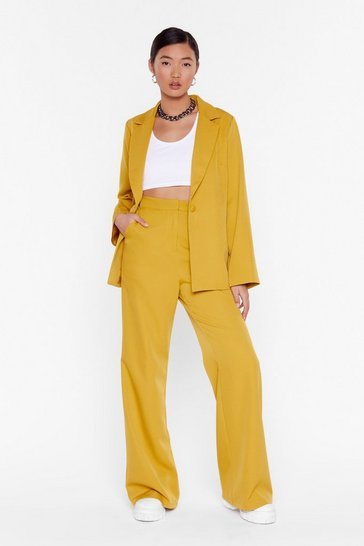 Chartreuse Whatever Suits High-Waisted Wide-Leg Pants