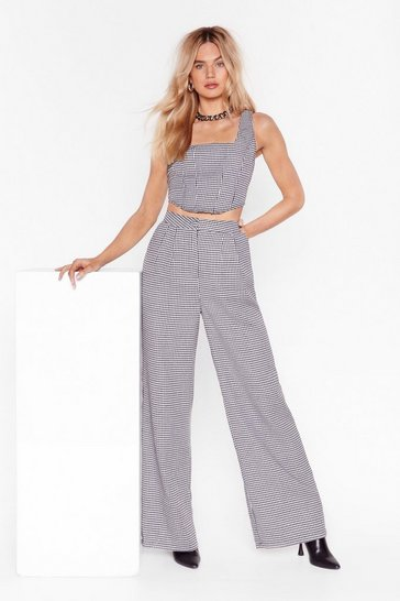 Grey Houndstooth What I'm Looking For Wide Leg Pants