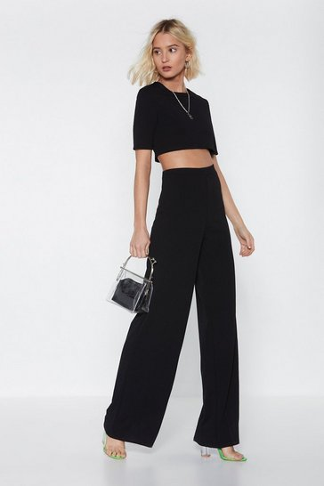 Black Crop Top And Wide Leg Pants Set
