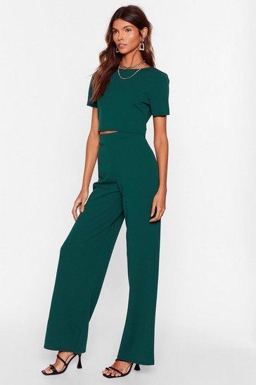 Green Crop T-shirt And Wide-Leg Pants Set