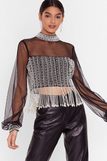 Black All or Nothing Pearl Crop Top
