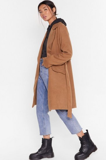 Camel Grab Your Faux Wool Coat