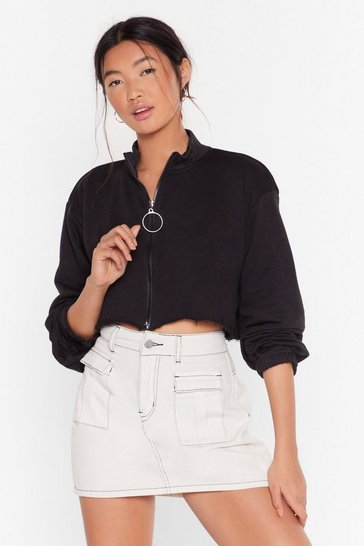 Black Crop Zip Sweatshirt