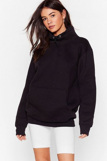 Sweat oversize à col montant Sweet Sweet, Black