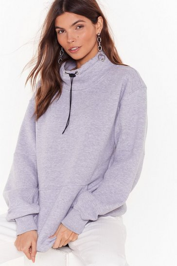 Grey Barely Broke a Sweat High Neck Relaxed Sweatshirt