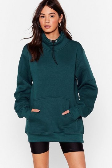 Sweat oversize à col montant Sweet Sweet, Teal