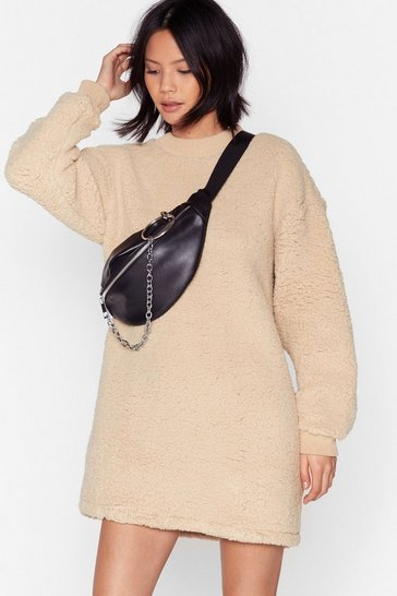 Camel This Isn't Oversized Faux Shearling Sweater Dress