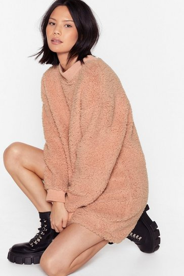 Dusky pink This Isn't Oversized Faux Shearling Sweater Dress