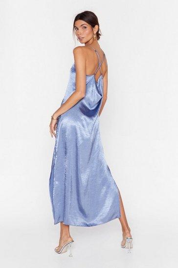 Blue Don't Cowl Me Back Satin Midi Dress