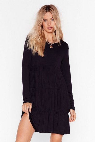 Black Tier We Come Relaxed Mini Dress